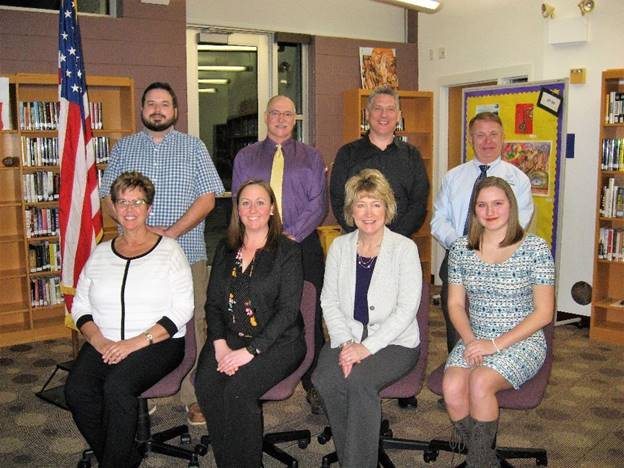 2019 FOWLERVILLE BOARD OF EDUCATION Front Row L to R: Miss Mary Vielbig, Trustee; Ms. Trisha Reed, Trustee; Mrs. Sheila Burkhardt, Secretary & Miss Anna Neuman, Student Representative. Back Row L to R: Mr. John Belcher, Trustee; Dr. Chris Wanczyk, Treasurer; Mr. Steve Frederick, Vice-President & Mr. Mike Brown, President.